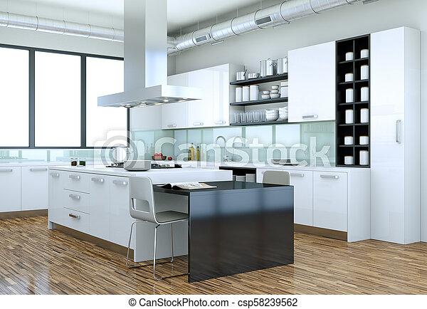 Moderno, ilustración, diseño, interior, blanco, cocina. Moderno ...