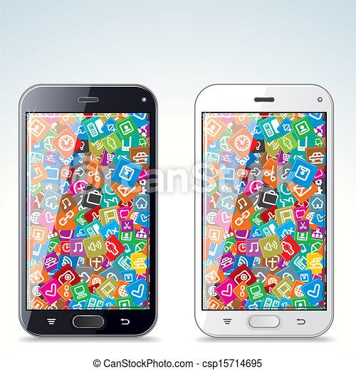 Ilustración de teléfonos inteligentes modernos en blanco y negro - csp15714695