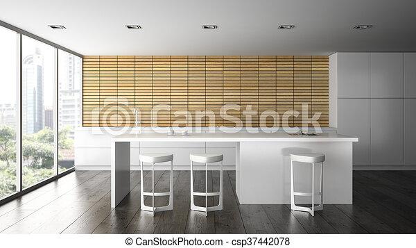 Moderno, interpretación, 2, diseño, interior, cocina, 3d. Moderno ...