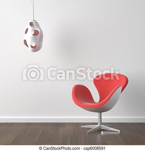 Diseño del interior, silla y lámpara rojas - csp6008591