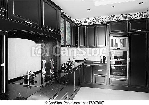 Moderno, negro, elegante, blanco, muebles, cocina. Moderno, negro ...