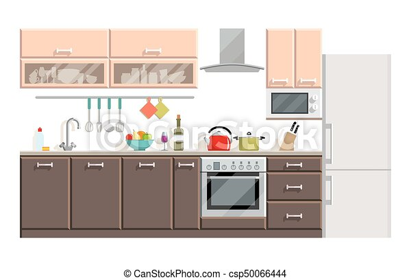 Moderno, plano de fondo, interior, blanco, cocina, muebles. Moderno ...