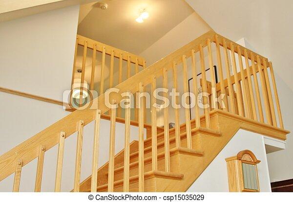 Escalera moderna en roble - csp15035029