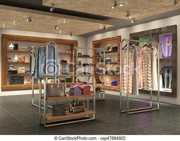 Moderno ropa ilustraci n interior tienda 3d for Disenos de tiendas de ropa modernas
