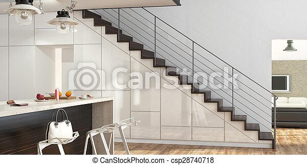 Moderno, scale. Soggiorno, moderno, interno, scale, cucina.