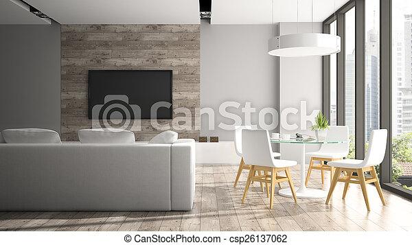 Interior moderno con sillas blancas 3D - csp26137062