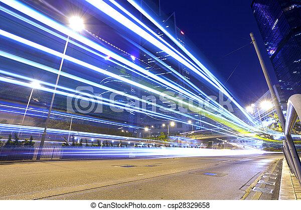 Rastros de luz en la calle moderna, Hong Kong. - csp28329658