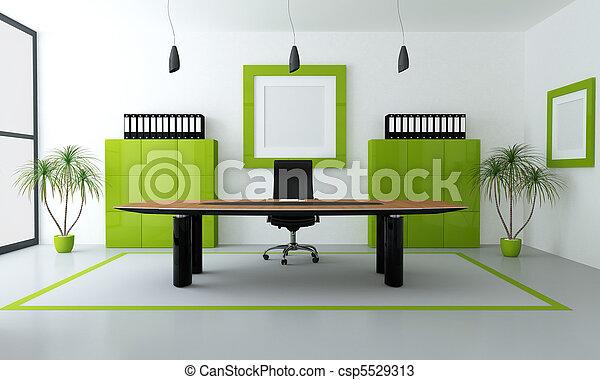 moderno, verde, oficina - csp5529313