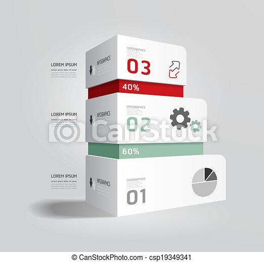 modernos, caixa, infographic, desenho, estilo, esquema, /, modelo, infographics, cutout, mínimo, site web, ser, usado, horizontais, numerado, gráfico, linhas, vetorial, lata, bandeiras, ou - csp19349341