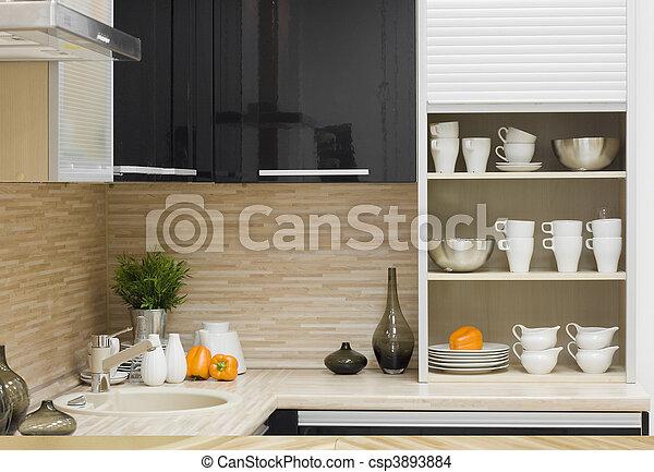 modernos, cozinha, detalhe - csp3893884