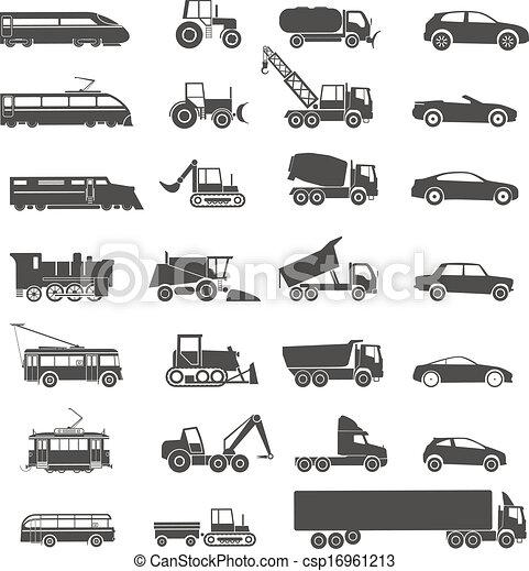 modernos, isolado, cobrança, silhuetas, retro, branca, transporte - csp16961213