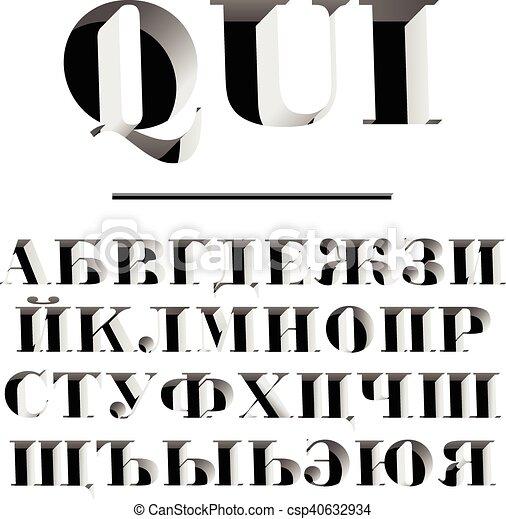 modernos, letras, alfabeto, cyrillic, typeface, parede, qui, números,  esculpido, russo