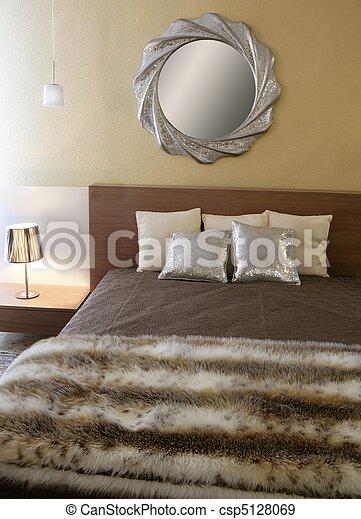 modernos, pele, cobertor, quarto, espelho, fraude, prata - csp5128069