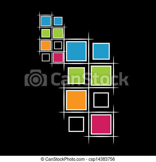 modernos, pretas, quadrados, fundo - csp14383756