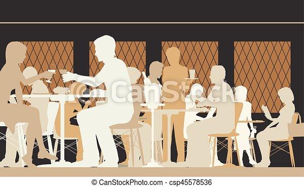 modifié tonalité, scène, restaurant - csp45578536