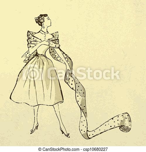 modish, mulher, parafuso, tecido, jovem - csp10680227