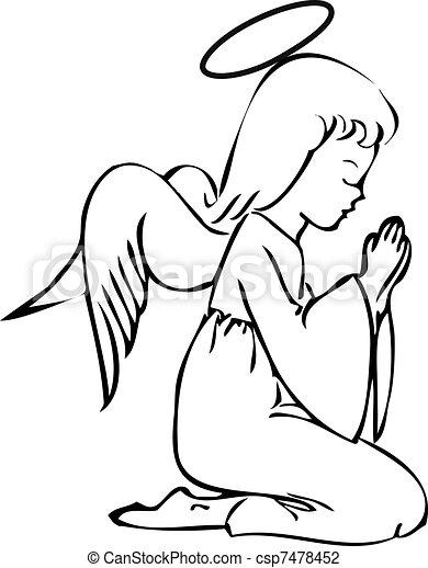 modlący się, anioł - csp7478452