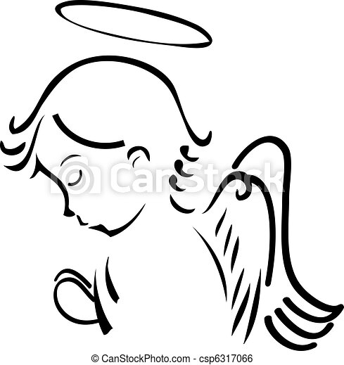 modlący się, anioł - csp6317066
