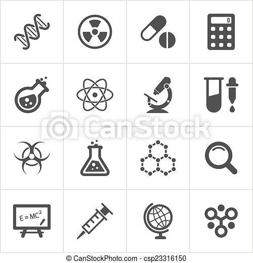 modny, nauka, wektor, white., ikony - csp23316150