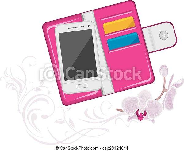 modny, różowy, portmonetka, damski - csp28124644