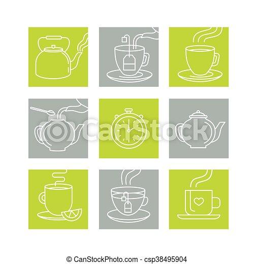 modny, styl, wektor, linearny, ilustracja - csp38495904
