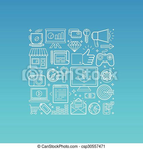 modny, styl, wektor, linearny, ilustracja - csp30557471