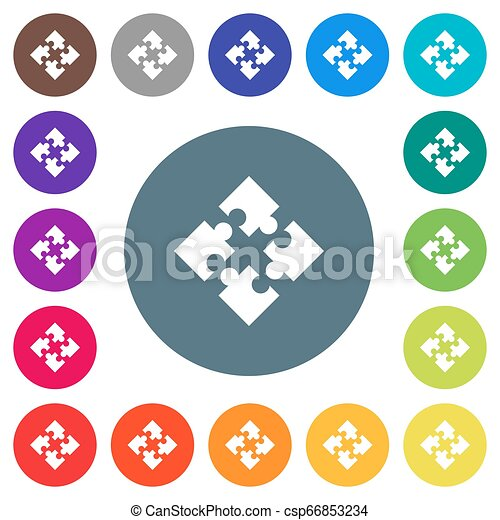 Modules flat white icons on round color backgrounds - csp66853234