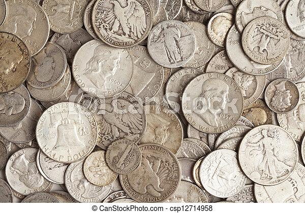 moedas, pilha, prata - csp12714958