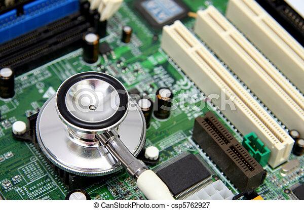moederbord, computer, stethoscope - csp5762927