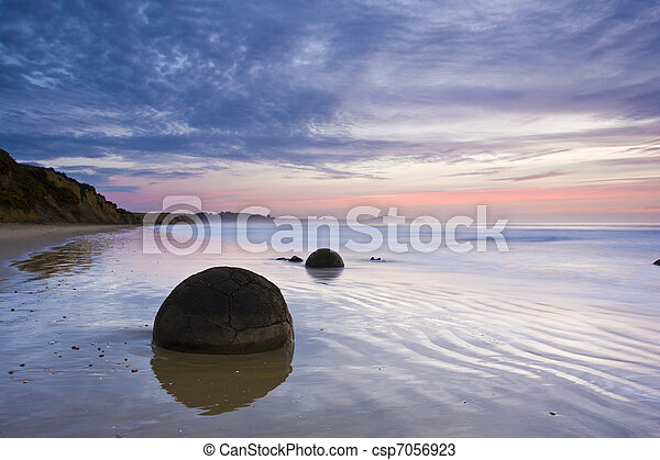 Moeraki Boulders at Sunrise South Island New Zealand - csp7056923