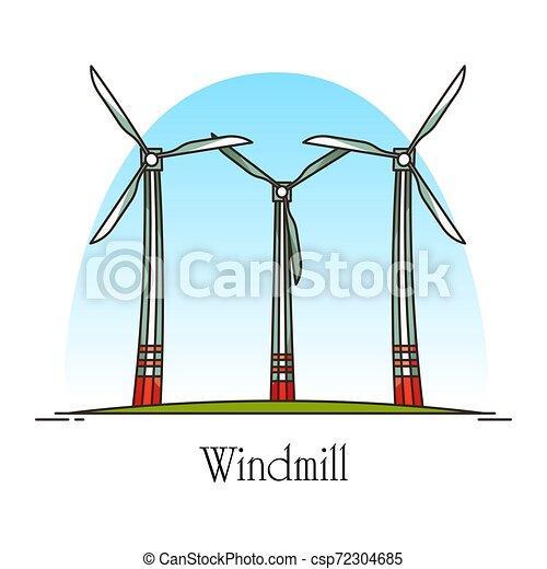 moinho de vento, energia, ou, areje turbina, rotação, caricatura - csp72304685