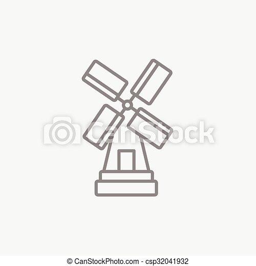moinho de vento, linha, icon. - csp32041932