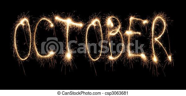 mois, octobre, sparkler - csp3063681