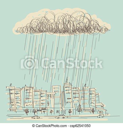 Cityscape con lluvia. La mano del vector nubló la oscuridad en un día húmedo - csp62541050