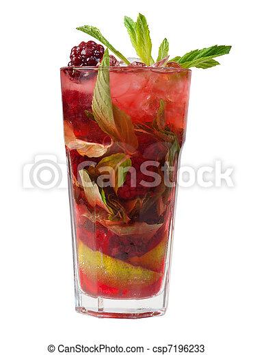 mojito, closeup, mûres, cocktail. - csp7196233