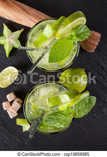 Mojito drinks on stone, upper view - csp19856985