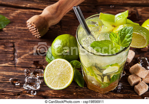 Mojito drinks on wood, upper view - csp19856911