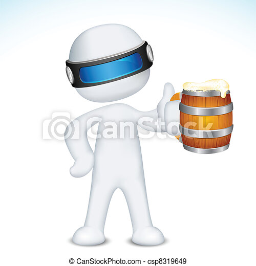 mok, vector, bier, man, 3d - csp8319649
