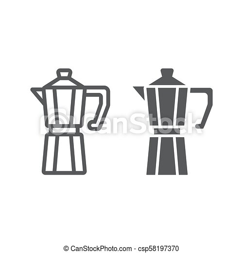 Moka pot line and glyph icon, coffee and cafe, coffeemaker sign vector graphics, a linear pattern on a white background, eps 10. - csp58197370