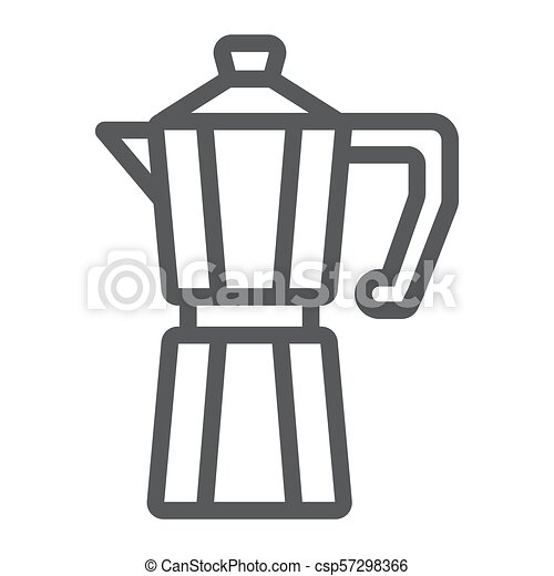 Moka pot line icon, coffee and cafe, coffeemaker sign vector graphics, a linear pattern on a white background, eps 10. - csp57298366