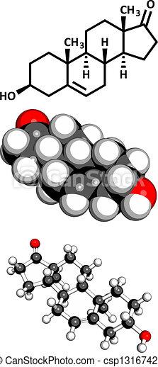 Molécula Dehydroepiandrosterone Químico Esteroide Dhea Prasterone Estructura