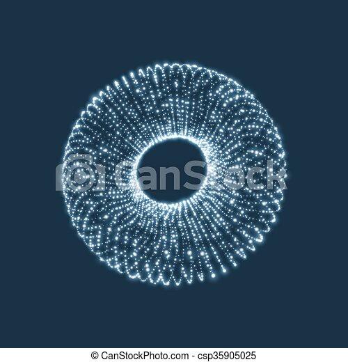 moléculaire, forme, consister, points., réseau, technologie, torus., structure., style., grid., cyberespace, torus, wireframe., connexion, design., grille, 3d, lattice., incandescent - csp35905025