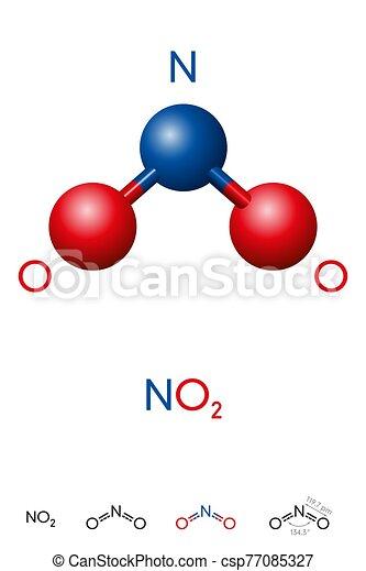 molécule, formule, bioxyde, no2, azote, modèle, chimique - csp77085327
