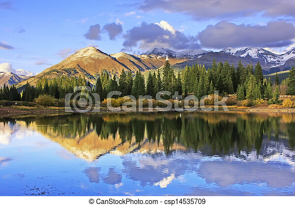Molas lake and Needle mountains, Weminuche wilderness, Colorado - csp14535709