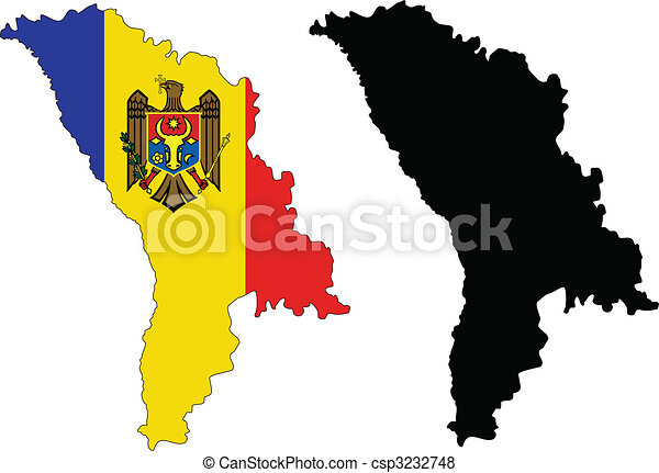 Vector Map And Flag Of Moldova With White Background Vector - Moldova map vector