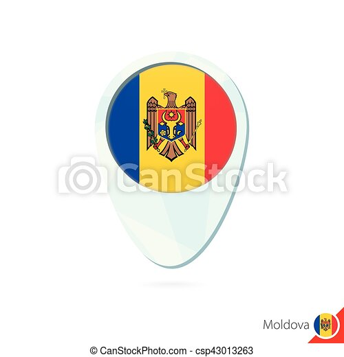 Moldova flag location map pin icon on white background clip art
