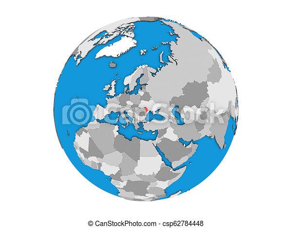 Moldova on 3D globe isolated - csp62784448