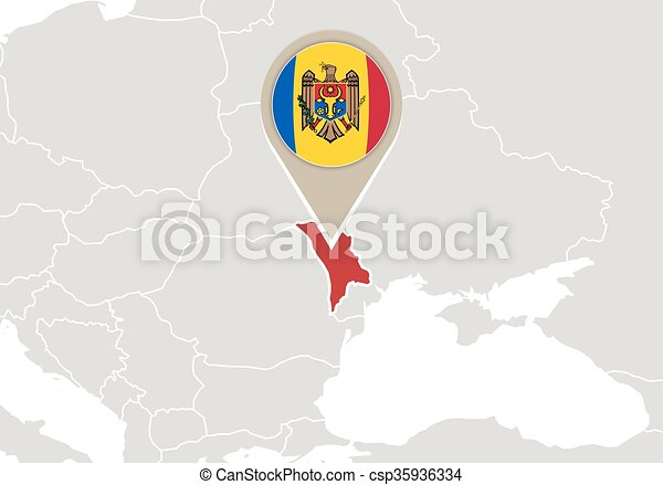 Moldova On Europe Map Europe With Highlighted Moldova Map And Flag