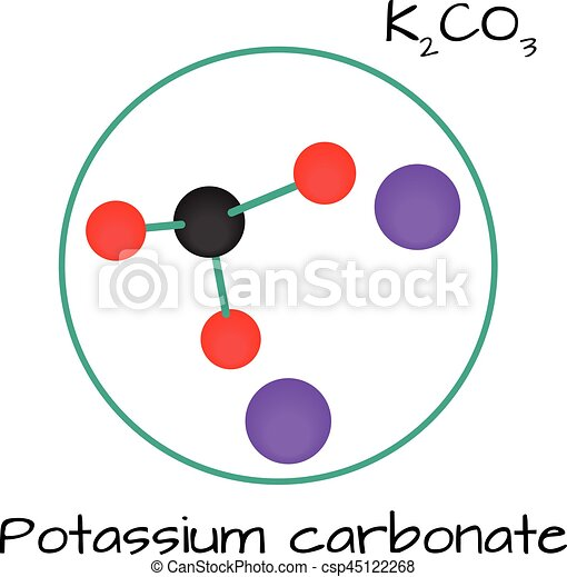 Molecule K2co3 Potassium Carbonate Isolated On White
