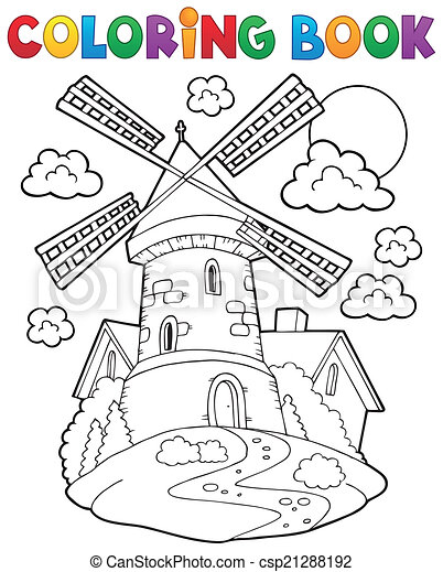 Libro de color molino de viento 1 - csp21288192